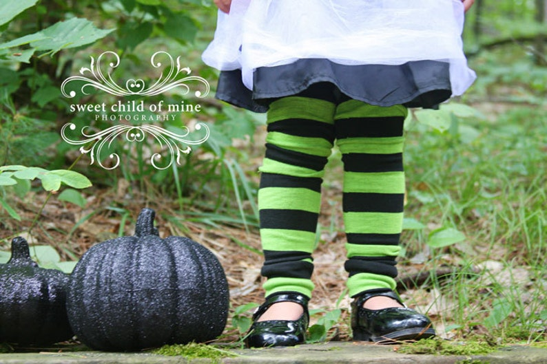 Baby Toddler Leg Warmers Green and Black Striped image 0