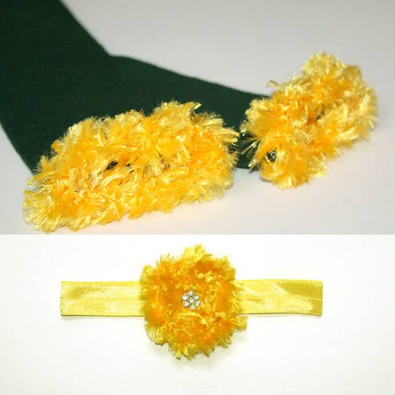 Green and Yellow Green Bay Packers Baby Leg Warmers and image 0