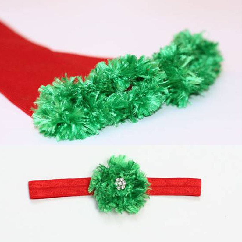 Red and Green Christmas Baby Leg Warmer and Headband Set image 0