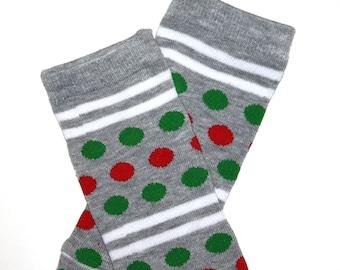 Newborn Christmas Dots and Stripes Baby Leg Warmers