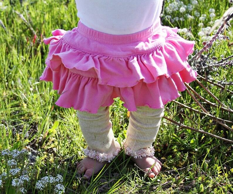Pink on Beige Spring Easter Baby Toddler Leg Warmers image 0