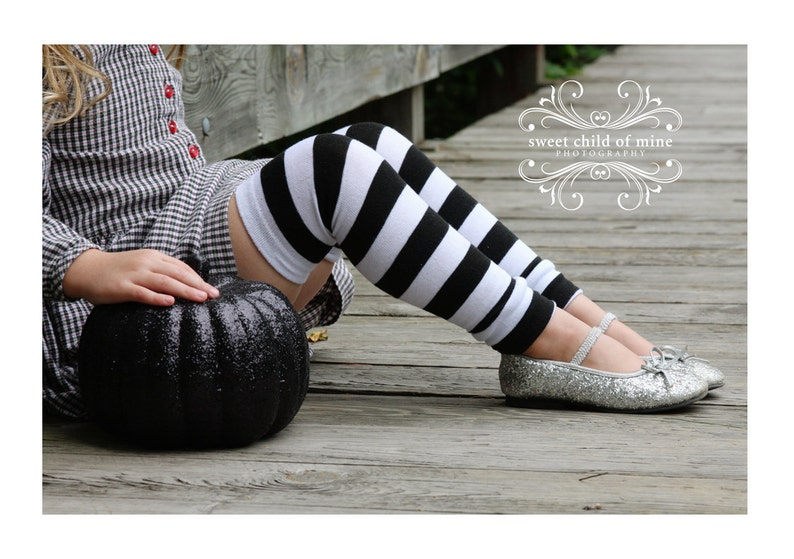 Black and White Striped Halloween Leg Warmers image 0
