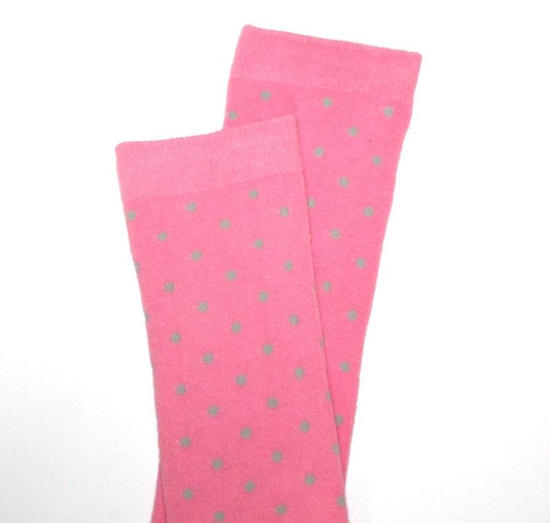 Pink Gray Dots Baby Toddler Leg Warmers image 0
