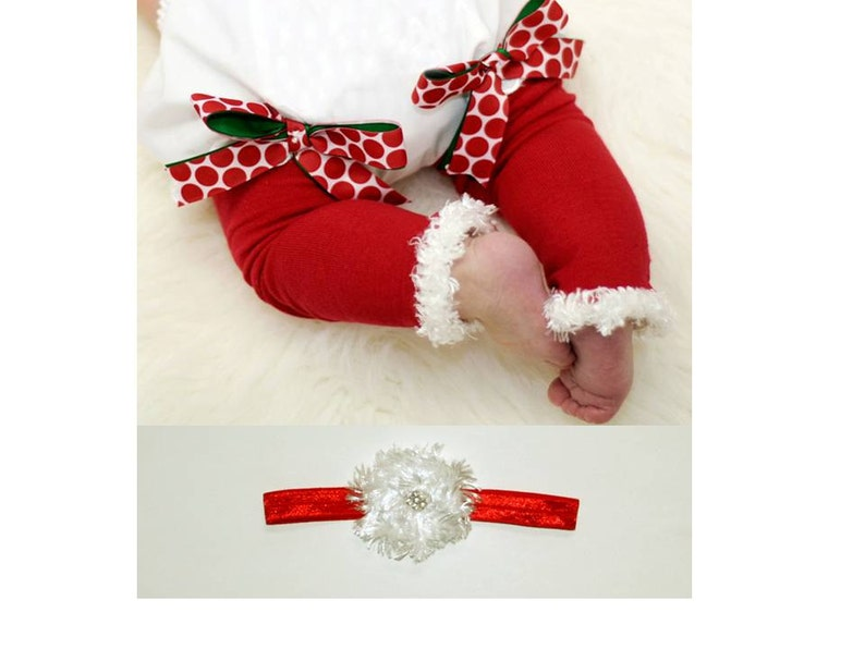 Red and White Christmas Baby Leg Warmers and Headband image 0
