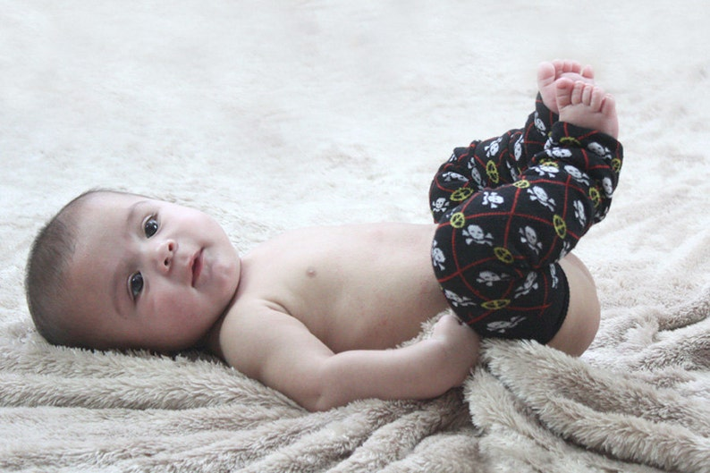 Black White Yellow Skulls and Peace Signs Baby Leg Warmers image 0