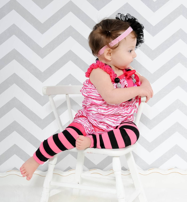 Pink and Black Striped Baby Leg Warmers image 0