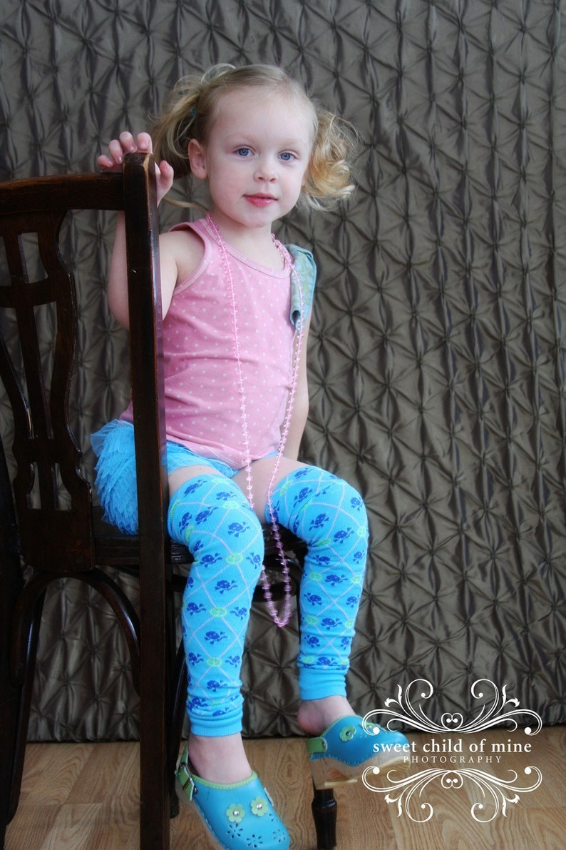 Turquoise Skulls and Peace Signs Argyle Baby Toddler Leg image 0