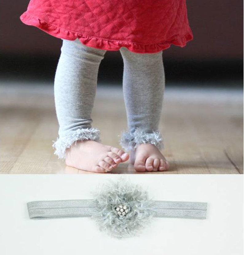 Silver Grey Baby Toddler Leg Warmers & Headband image 0