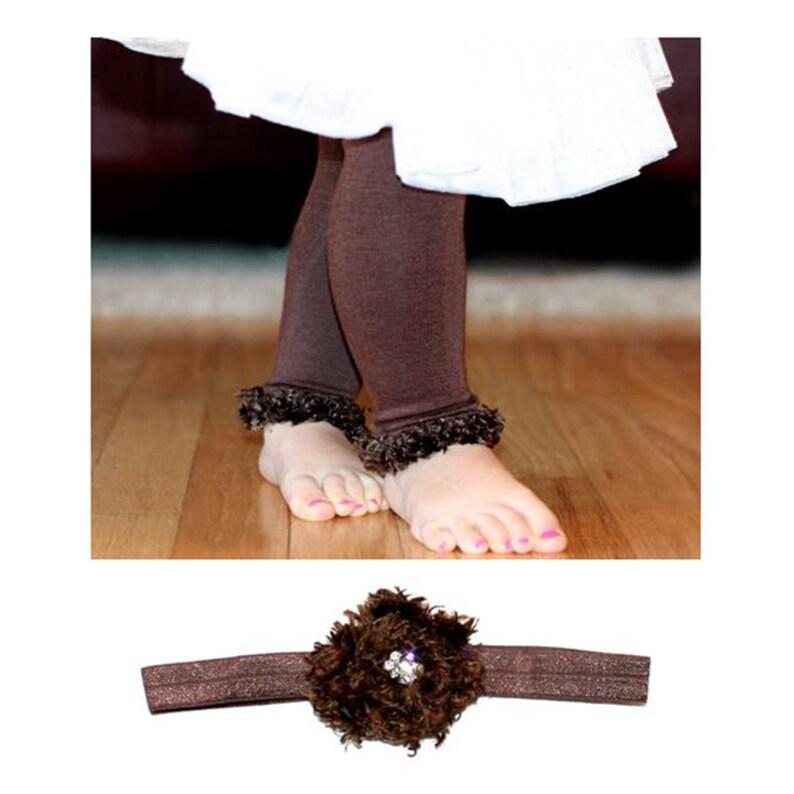 Brown Baby Leg Warmers and Headband image 0