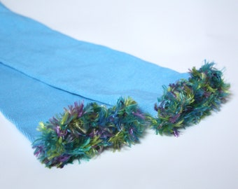 Turquoise Fuzzy Baby Toddler Leg Warmers