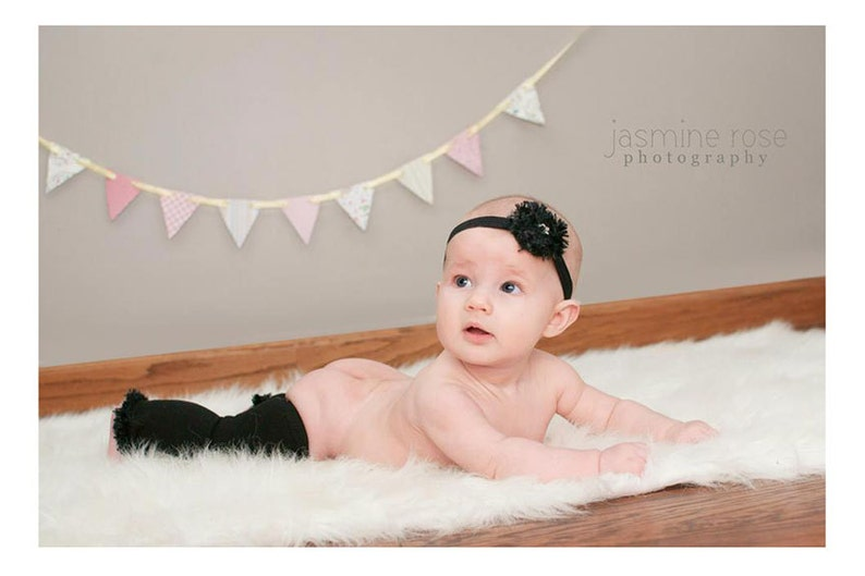 Black Baby Leg Warmers and Headband image 0
