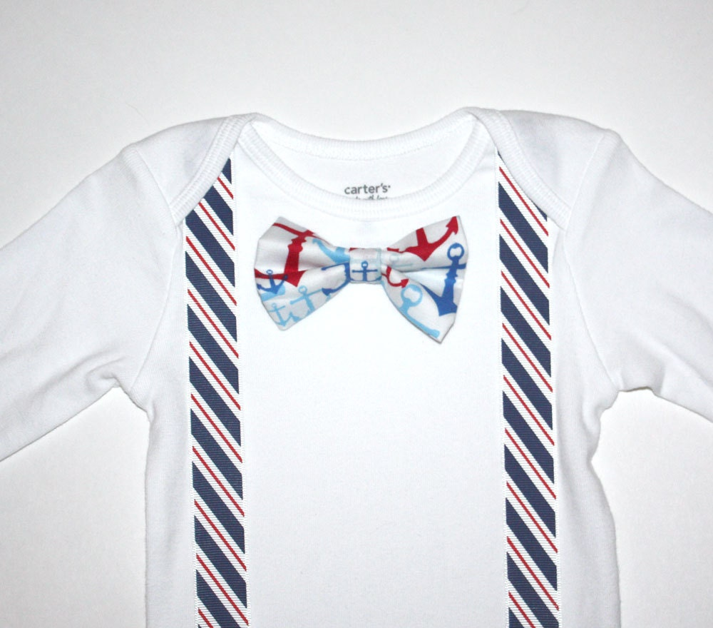 d7e950a1d048 Red White Blue Nautical Baby Boy Bow Tie Onesie Free Shipping | Etsy
