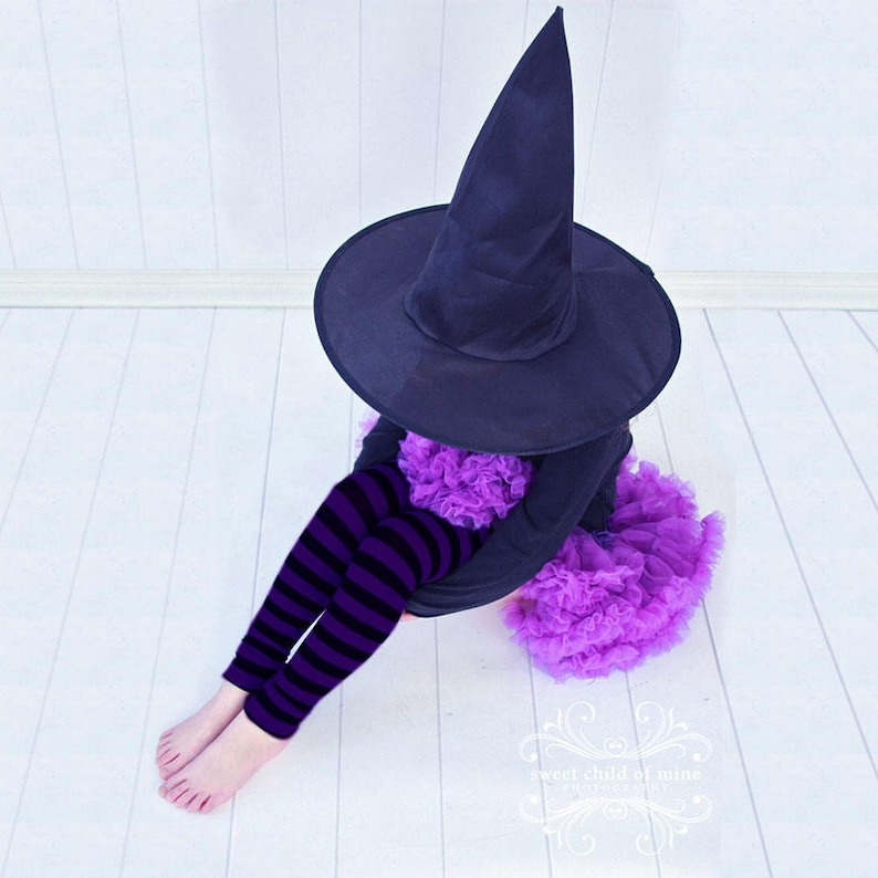 Purple and Black Striped Girls Halloween Leg Warmers image 0