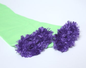 Green and Purple Fuzzy Baby Toddler Leg Warmers