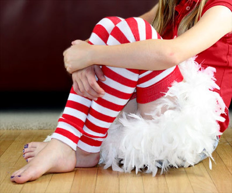 Red and White Striped Girl's Leg Warmers image 0