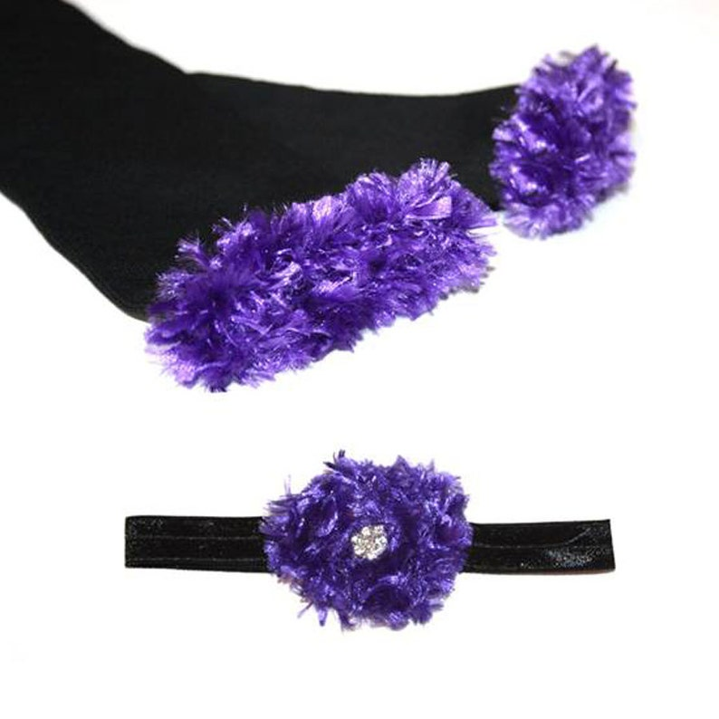 Purple and Black Ravens Baby Leg Warmers and Headband Set image 0