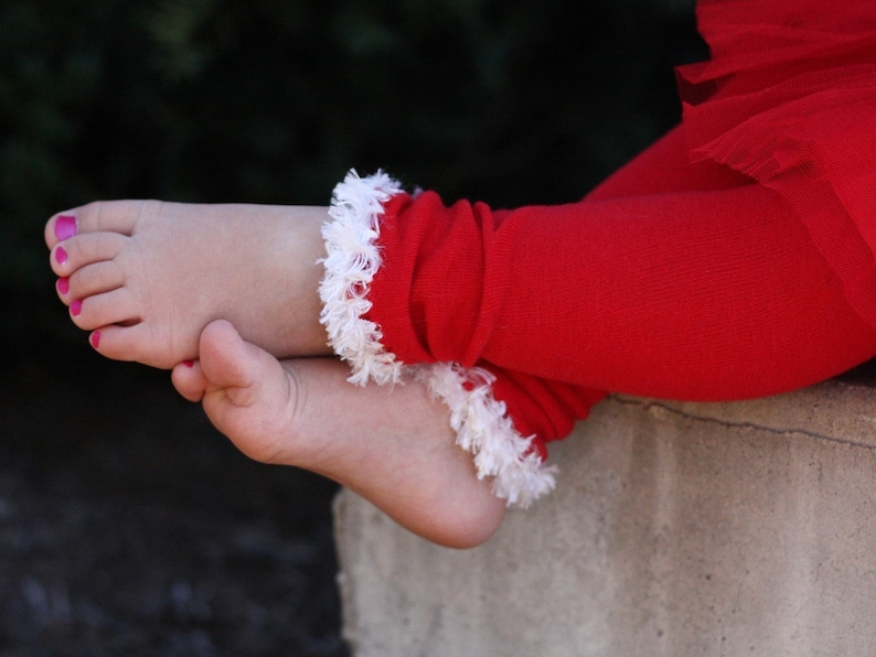 Red and White Christmas Baby Leg Warmers image 0
