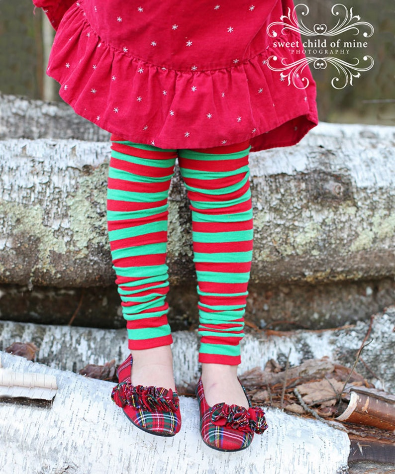 Red and Green Striped Girls Christmas Leg Warmers image 0