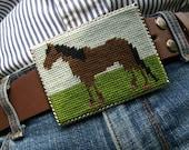 Brown Horse Needlepoint Belt Buckle