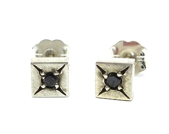 Star Set Black Diamond Silver Square Studs- unisex