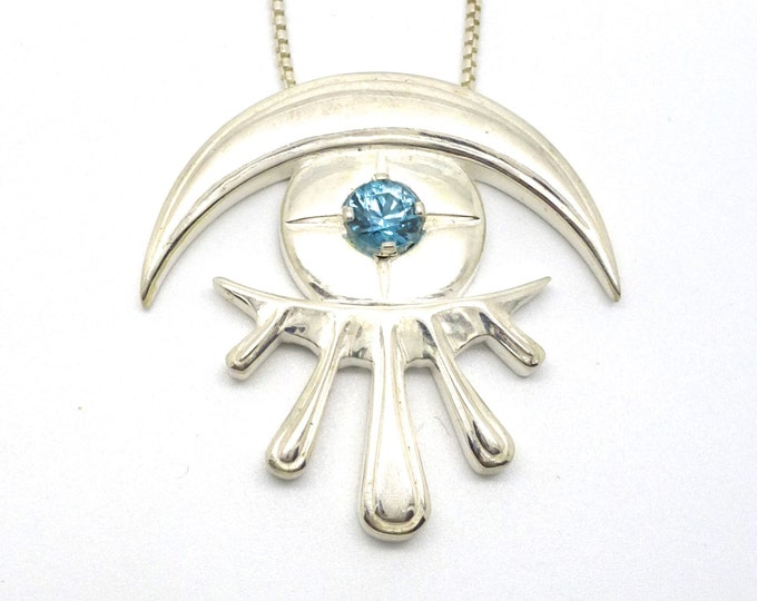 Celestial Eye Necklace // Silver and Natural Blue Zircon