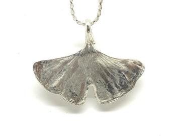 Gingko Leaf Necklace in Sterling Silver