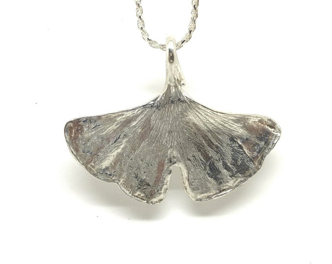 Gingko Leaf Necklace in Sterling Silver