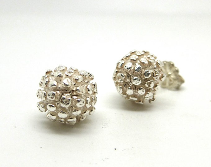 Bud Button Studs in Sterling Silver