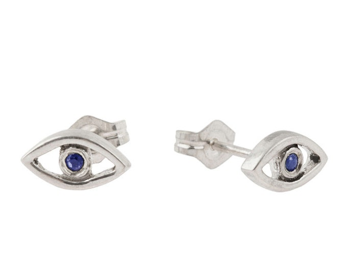 Evil Eye Stud Earrings // Sterling Silver with Blue Sapphires