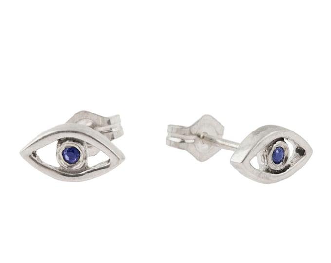 Evil Eye Stud Earrings // Sterling Silver with Blue Sapphires