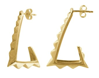 Gold Pyramid Hoops // 80's Style Big Triangle Earrings
