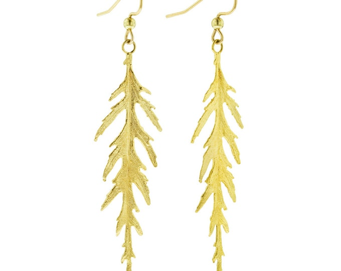 Golden Leaf Earrings- Long Japanese Maple Leaves