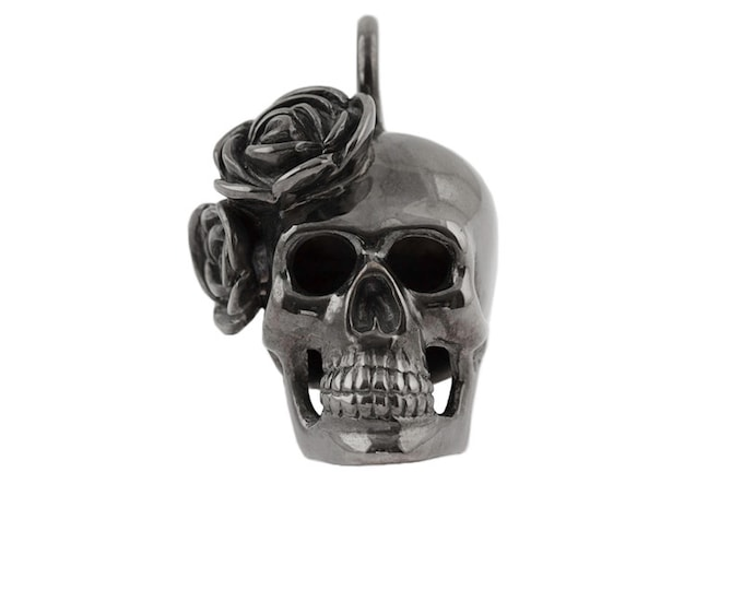 Big Black Skull Pendant with Roses