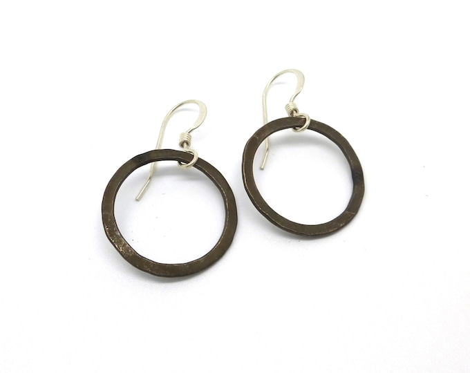 Simple Black Oxidized Silver Circle Earrings with Gold or Silver Hooks