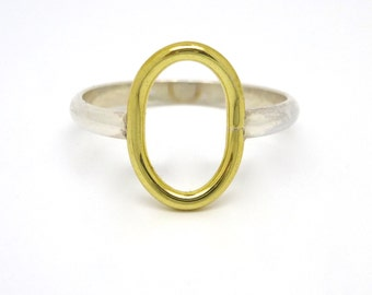 Sterling Silver with Brass Circle Ring // made to order in your size