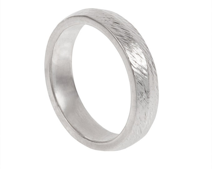 Chiseled Mens Wedding Band- Made to order in your size, material and dimensions