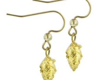 Tiny Gold Pine Cone Earrings // Cast from Real Pine Cones