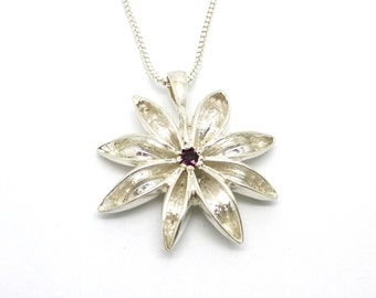 Sterling Silver Star Anise Pendant with Amethyst // Garnet // Emerald
