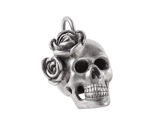 Big Sterling Silver Skull with Roses