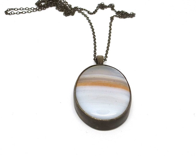 Agate and Oxidized Sterling Silver Pendant Necklace