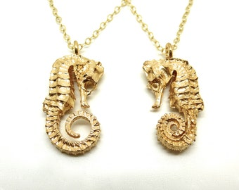 Gold Seahorse Pendant Necklace // Cast from a real Seahorse!
