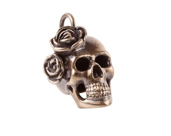 Big Brass Skull Pendant with Roses