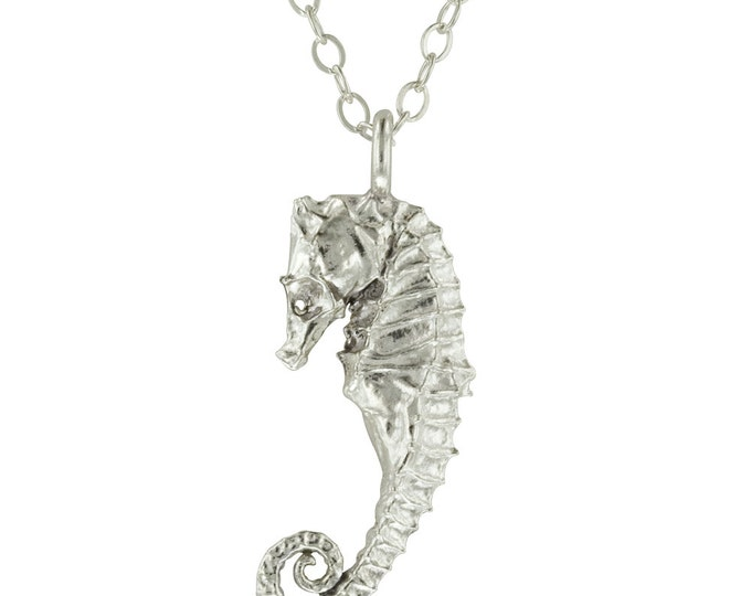 Sterling Silver Seahorse Pendant Necklace // Cast from a real Seahorse!