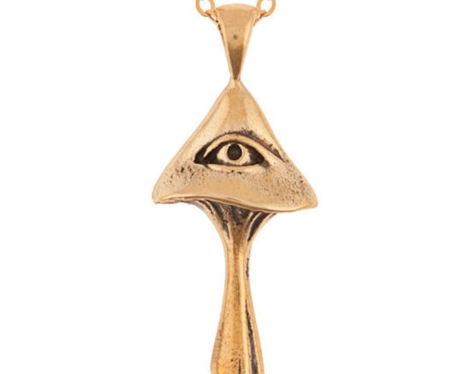 All Seeing Magic Mushroom Necklace in Brass
