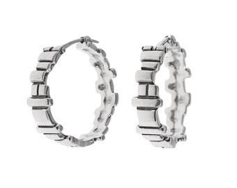 Soft Squares Hoops- handcarved sterling silver hoop earrings