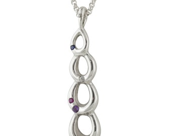 Polished Sterling Silver Drops Pendant Necklace with Sapphires, Ruby, Amethyst and Emerald