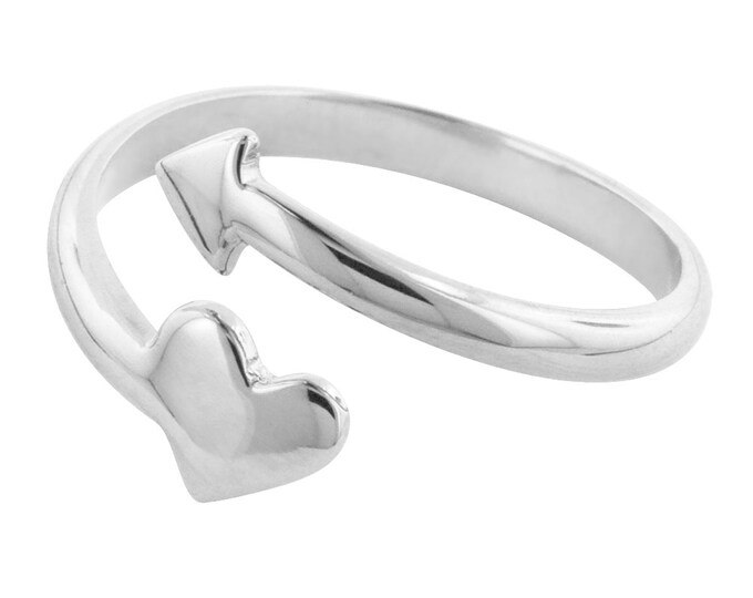 Heart and Arrow Adjustable Ring in Sterling Silver