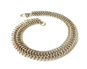 Sterling Silver and Gold Fill Chainmaille Bracelet