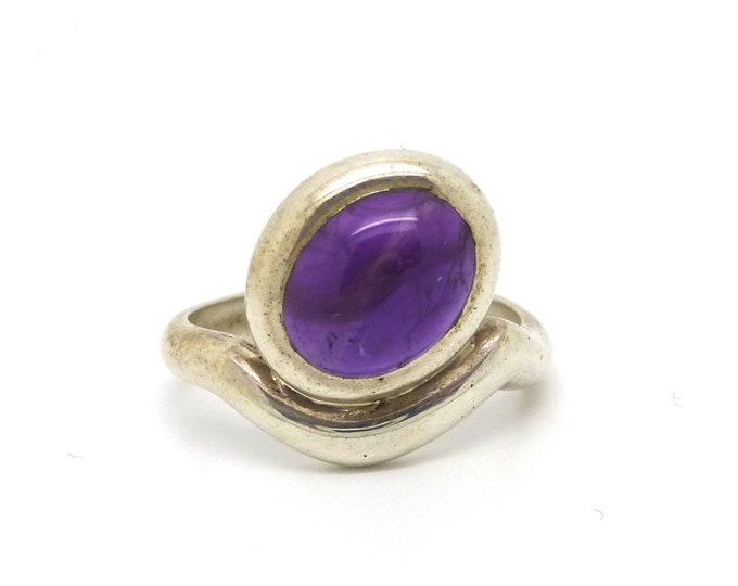 Oval Eye Amethyst and Sterling Silver Ring
