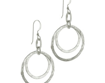 Sterling Silver Double Circle Earrings